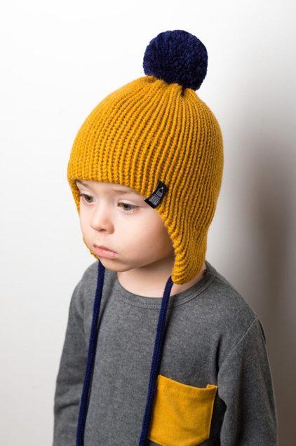 Вязаная шерстяная шапка Канада цвет горчичный