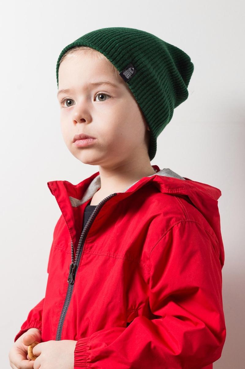 ТОКИО, вязаная двухслойная шапка на ребенке. Цвет темно-зеленый. Шапка как у Монатика, Кусто. Beanie hat. Watch cap. Морячка
