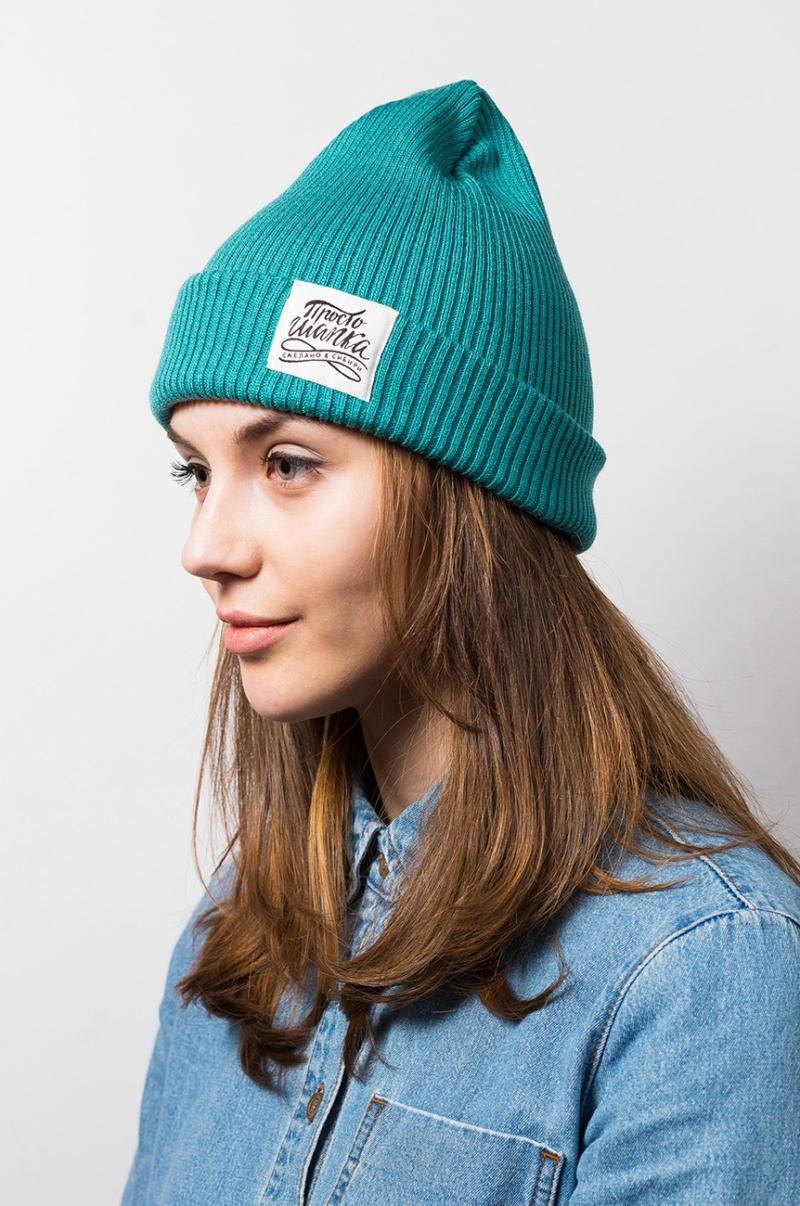 ТОКИО, вязаная двухслойная шапка на молодой девушке. Цвет лазурный. Шапка как у Монатика, Кусто. Beanie hat. Watch cap. Морячка
