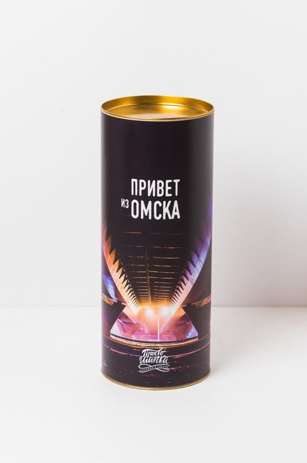 Подарочный тубус «Привет из Омска» с изображением Омского метромоста