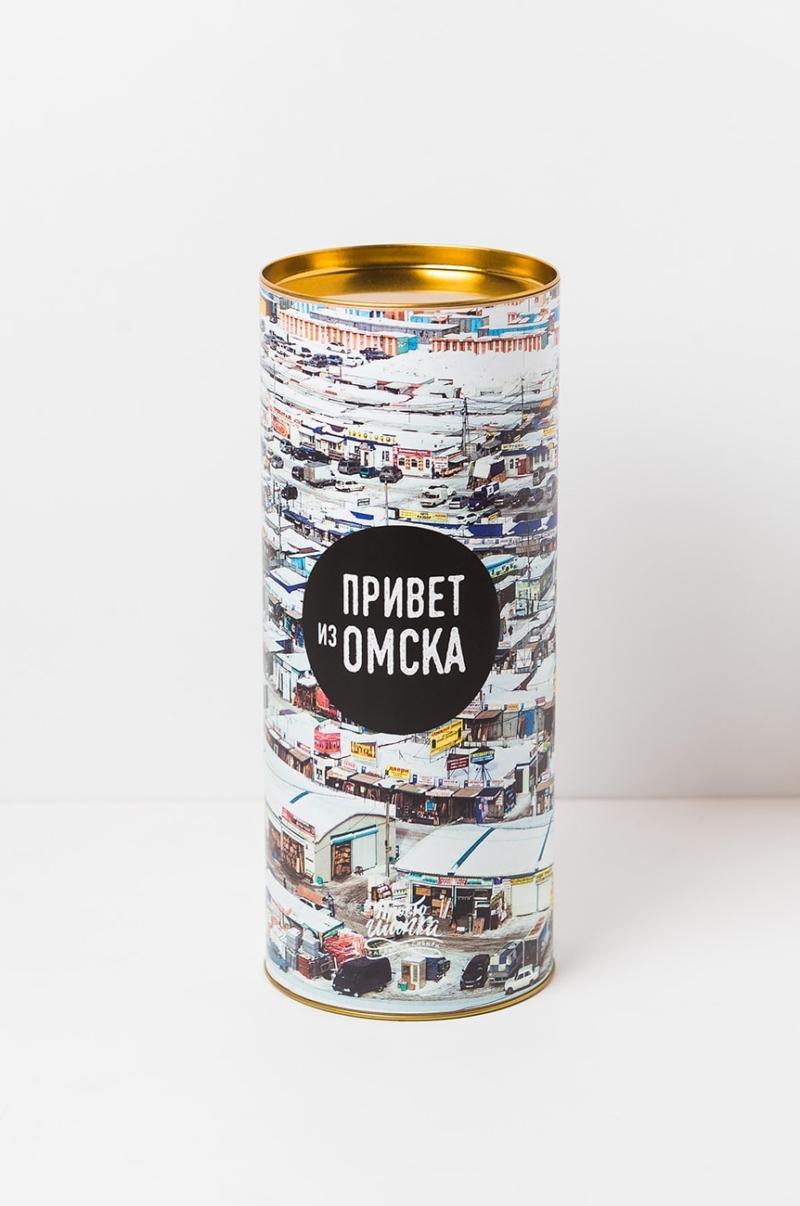 Подарочный тубус «Привет из Омска» с изображением Омской оптовки