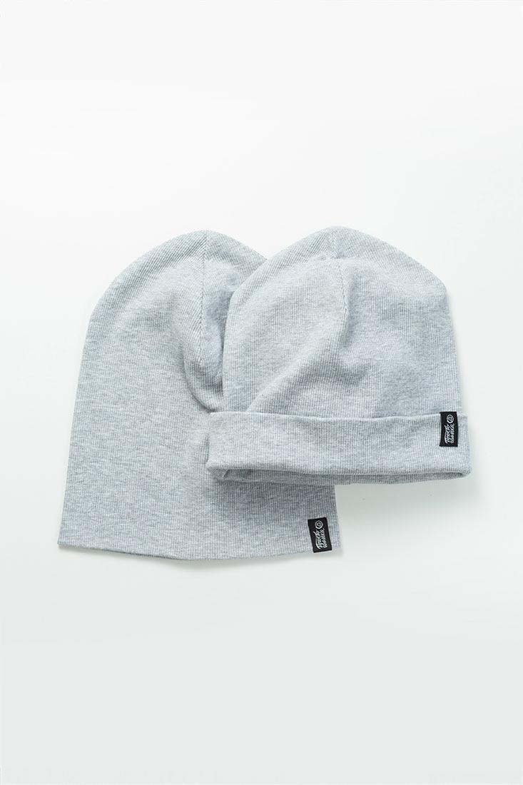 Шапка трикотажная Магеллан, шапка удлиненная, шапка с подворотом, цвет горчица, цвет серый меланж