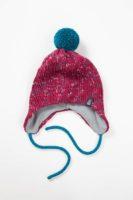 Вязаная шапка с хлопковым подкладом с помпоном на завязках