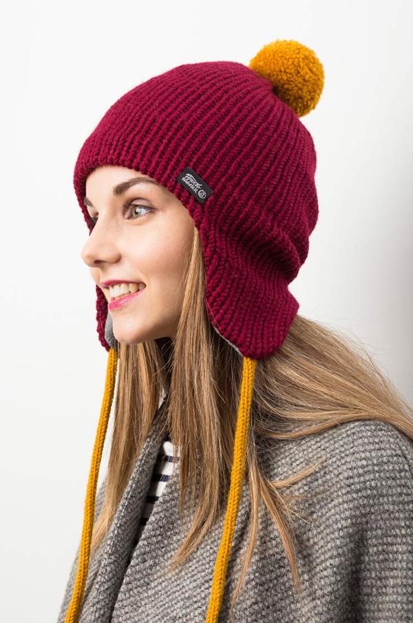 Вязаная шерстяная шапка Канада цвет бордовый, темно-красный