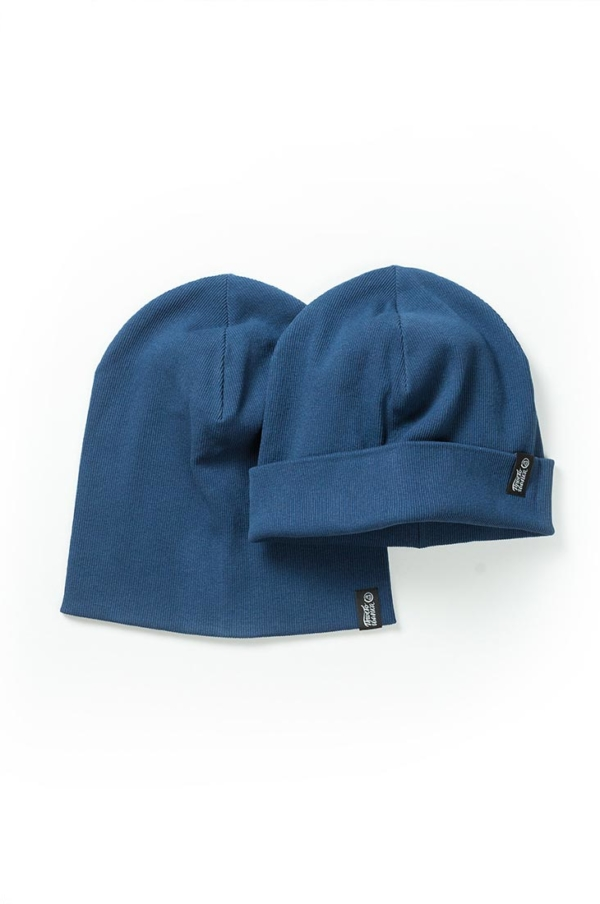 Шапка трикотажная Магеллан, шапка удлиненная, шапка с подворотом, цвет горчица, цвет синий