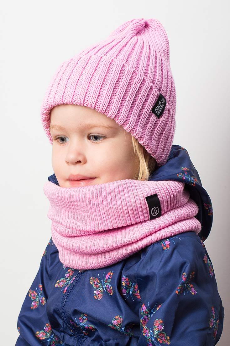 """Вязаная шапка тыковка на девочке. Коллекция """"Камчатка"""". цвет розовый"""