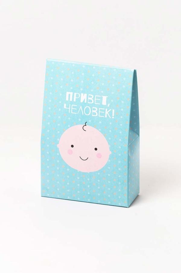 Коробка Привет человек, цвет голубой, упаковка