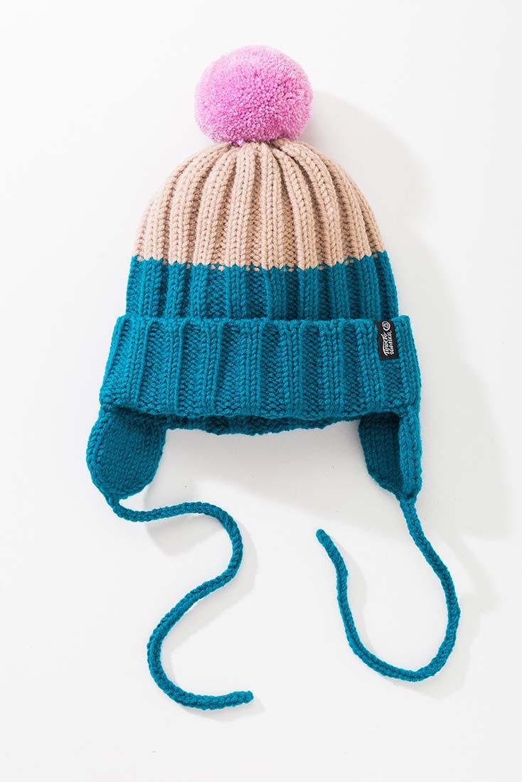 Вязаная шапка с помпоном и подкладом. Цвет бирюзовый + бежевый. помпон - розовый