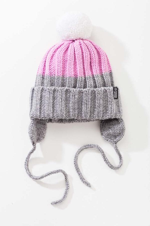 Вязаная шапка с помпоном и подкладом. Цвет серый меланж + розовый. помпон - белый