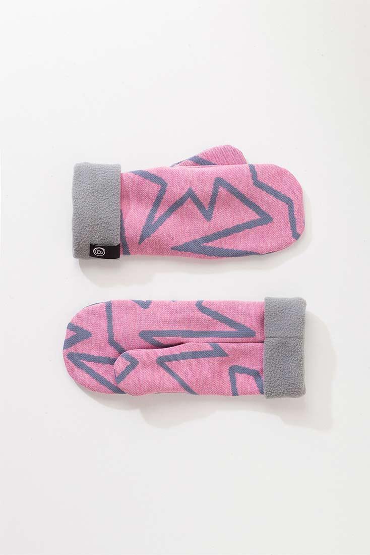 Трикотажные варежки с флисовым подкладом. Цвет розовый