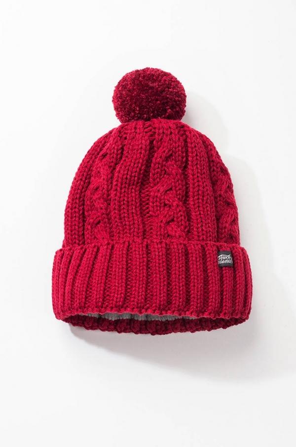 Зимняя шапка Бавария с помпоном и подкладом бордовая