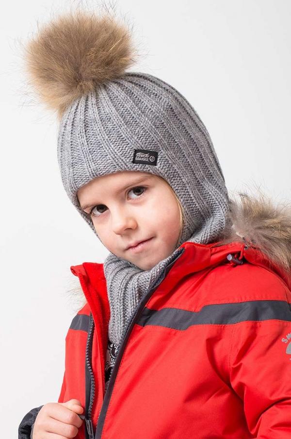 Шапка-шлем с меховым помпоном, цвет серый