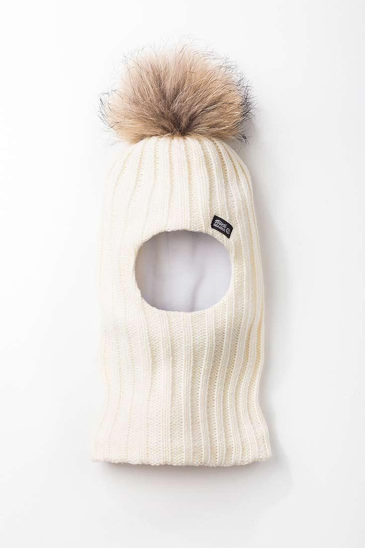 Шапка-шлем с меховым помпоном, цвет молочный